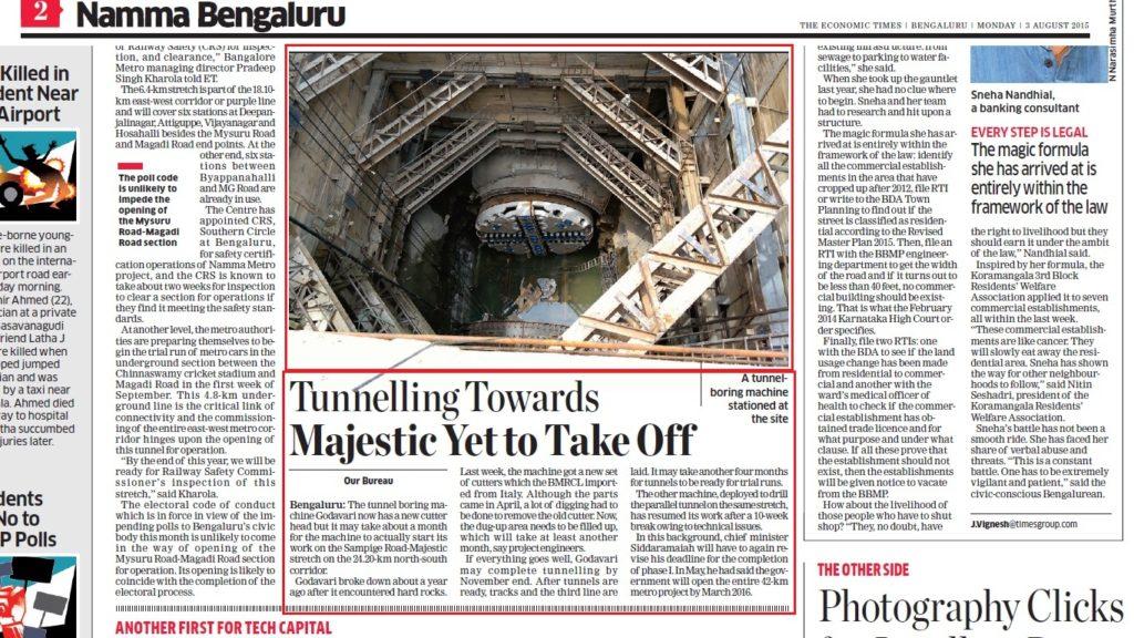 Bangalore Mirror: Work undertaken to refurbish the damaged TBM